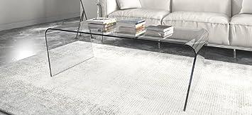 """Tavolino in vetro da salotto, ufficio o soggiorno. Elegante tavolino con """"Gambe Oblique"""" Cm 120 x 64 x h.40 Finitura: Marrone, Art.T01C/06"""