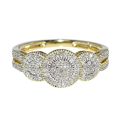 Rings-MidwestJewellery.com Women's 1/4Cttw Diamond Bridal Engagement Ring 10K Yellow Gold Three Stone Style Anniversary Ring