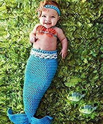 M&G House Fashion Newborn Boy Girl Baby Handmade Crochet Knitted Photo Photography Prop Mermaid Tail Romper Outfit+Soft Bib