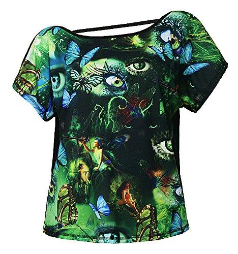 Feel joy! Camicia da donna bambina Green Fairy, Multicolor, taglia unica, FJ05902349672823