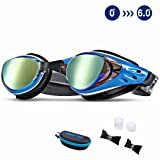 Aikotoo Swim Goggles,Shortsighted Swimming Goggles Myopic with Prescription Lenses Anti Fog Nose Clip Ear Plugs for Women Kids Men, Swimming Goggles Blue