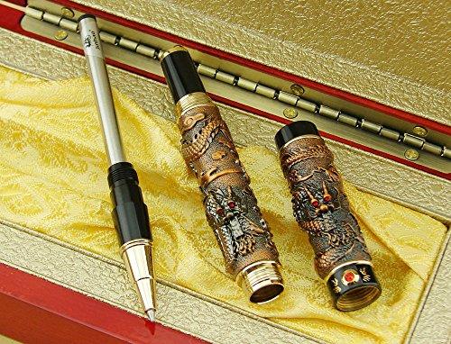 Bolígrafo Lanxivi Jinhao Gris Color rojo Double Dragon Pearl de caja de regalo de madera