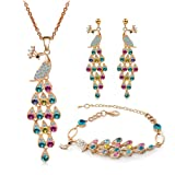 truecharms Colorful Crystal Peacock Jewelry Sets Necklace Earrings Bracelet Sets (Gold)