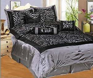 Faux Silk Flocking Grey / Black Zebra Printing Comforter Set, Queen