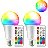 iLC Color Changing LED Light Bulb A19 E26 Screw, 120 Colors 10W Dimmable Warm White 2700K RGB LED Light Bulbs with Remote Control, 60 Watt Equivalent (Pack of 2) (Color: 2 Pack)