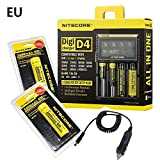 New NITECORE Digicharger D4 LCD Charger+2x18650 3400ma+Car Charger