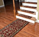 Dean Premium Nylon Carpet Stair Tread Rugs - Traditional Antique Cranberry 30