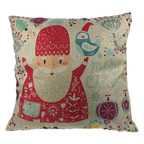 Luxbon - Cotton Linen Cute Santa Claus Reindeer Snowman Snowflake Christmas Tree Little House Bird Gift Ho Ho Ho Merry Christmas & Happy New Year Design Throw Pillow Case Cushion Cover Insert Not Inclued - Design 11