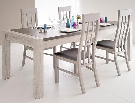 Tischgruppe Marten 7 Grau Steinoptik Tisch 4x Stuhl Esstisch Esszimmer Wohnzimmer