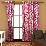 Ab home decor Polyester Door Curtains (Set of 2)- 7 Feet x 4 Feet,Pink
