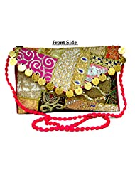 Eco-friendly Zari And Thread Embroidered Indian Shoulder Bag Stylish Fashion Purse - B01191TVOE