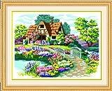 クロスステッチ 美麗庭と家 風景 刺繍キット 裁縫 ししゅう セット 大判 キット