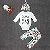 FEITONG Newborn Infant Baby Boys Long Sleeve Tops +Long Pants +Hat (0-3 Months)