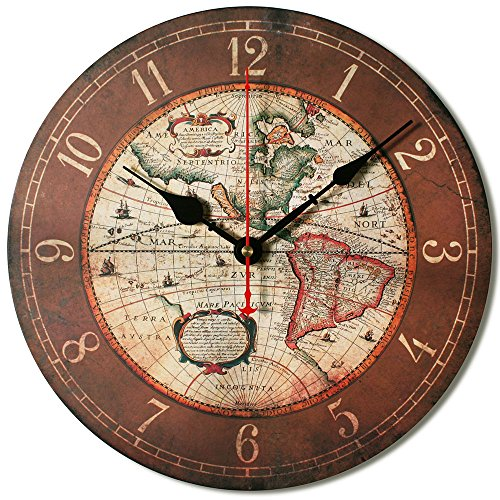 """12"""" Vintage World Map Vintage Shabby Chic Wood Wall Clock With Free Tray front-303202"""