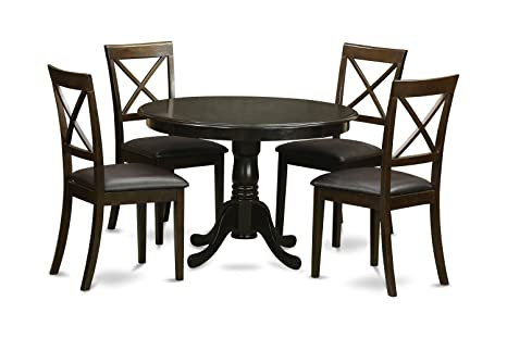 East West Furniture HLBO5-CAP-LC 5-Piece Kitchen Nook Dining Table Set, Cappuccino Finish