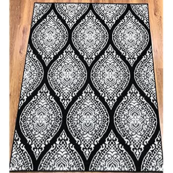 Antep Rugs Kashan King Collection 512 Polypropylene Indoor Area Rug Gray and Black 8 X 10