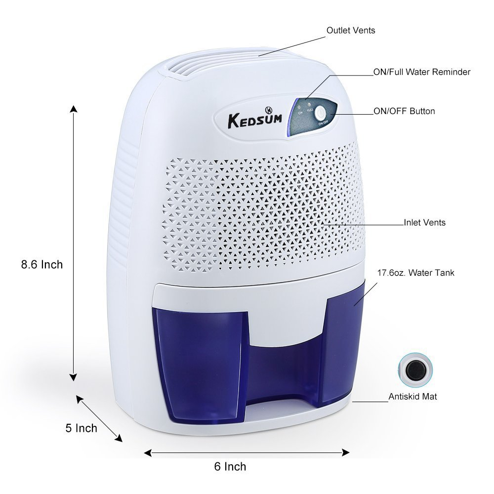 KEDSUM FCC Approved Small Thermo-Electric Dehumidifier, 108 Square Feet for Small Laundry Room, Bedroom,Kitchen,Closet,Basement, Attic, RVs