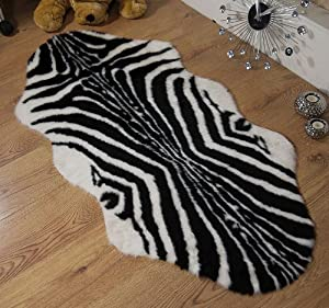 Zebra animal print faux fur sheepskin double rug 70 x 140 cm