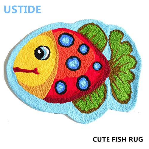 Ustide Cute Fish Rug Blue Handmade Bath Mat Animal Rugs