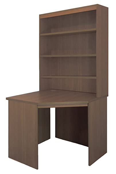 Home Office Furniture UK Corner Desk Unit Computer Table with HUTCH, Wood, Teak, wood Grain Profile, 3-Piece