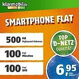 klarmobil Smartphone Flat M in D-Netz Qualität SIM-Karte (Micro-SIM und Nano-SIM, Aktivierungscoupon, 100 Frei-Minuten & 100 SMS in alle deutschen Netze, 500MB Highspeed Internet, 24 Monate Laufzeit)
