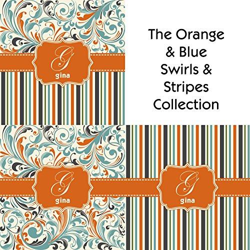 """Orange & Blue Leafy Swirls Round Table Cloth (70"""") front-680004"""