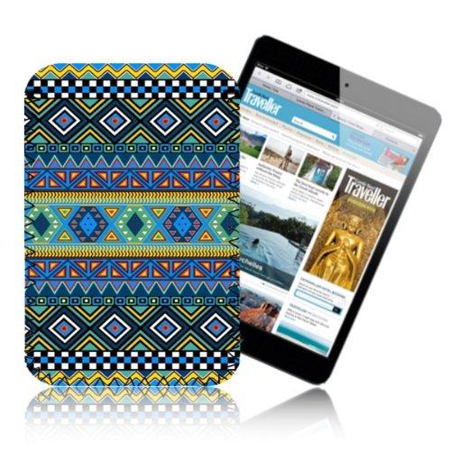 AZTEC Blue Tribal Pattern Case for APPLE IPAD MINI Retro Tablet Pouch