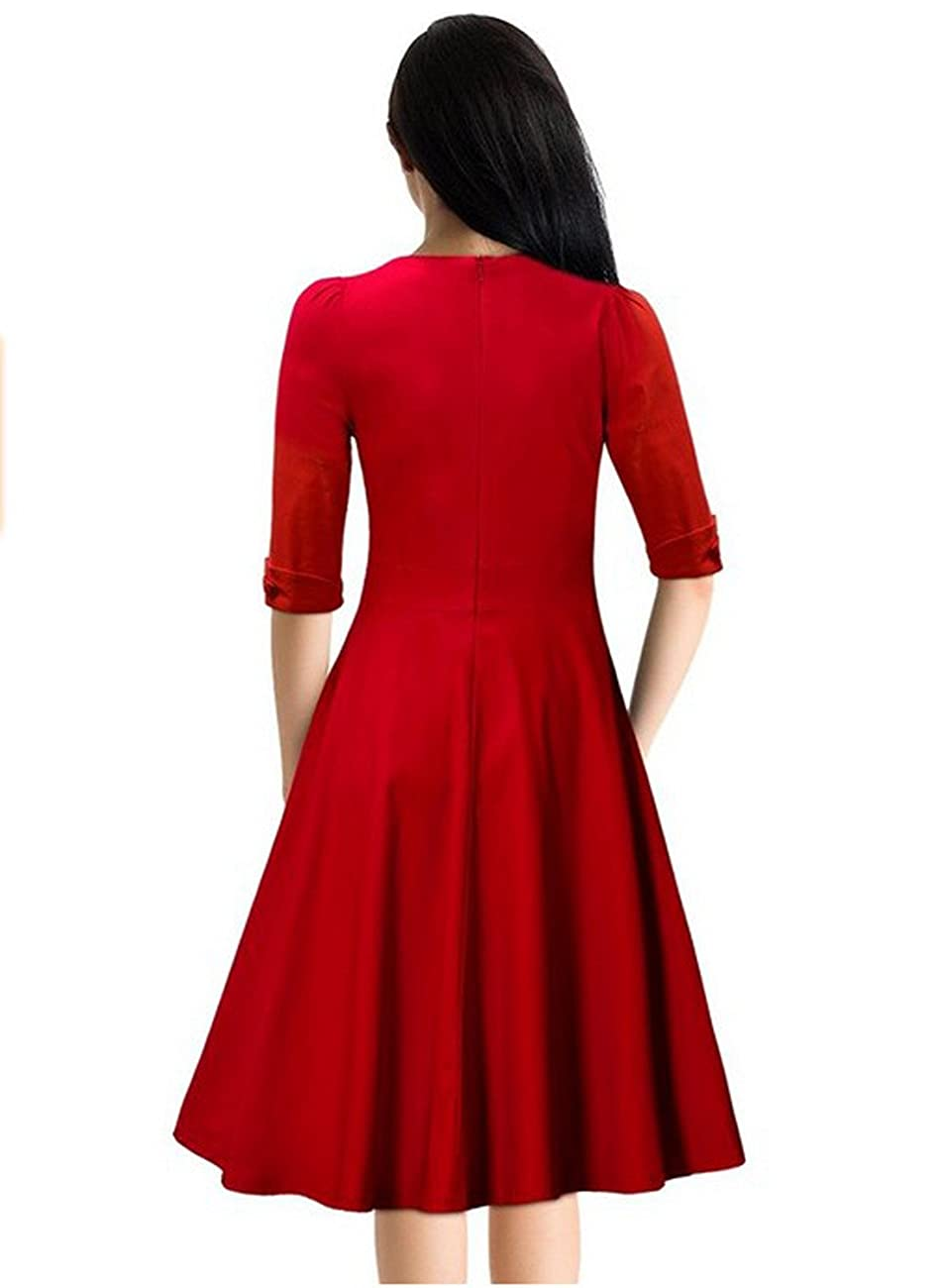 SYLVIEY Women's Hepburn Style Short Sleeve Vintage Bridesmaid Party Dress 1