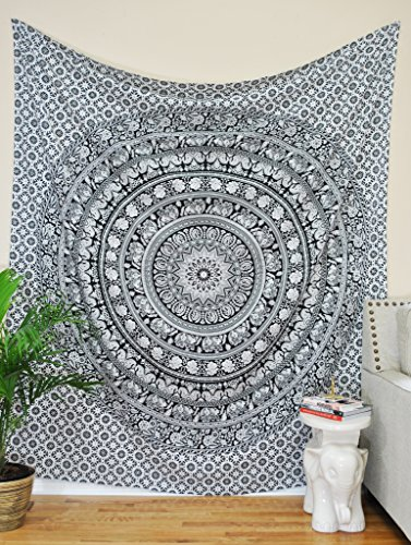 Craft-N-Craft-India-Tapestry-Twin-Black-and-White-Hippie-Elephant-Mandala-Tapestry-Indian-Traditional-Beach-Throw-Wall-College-Dorm-Bohemian-Wall-Hanging-Boho-Twin-Bedspread-Tapestries-Black-White