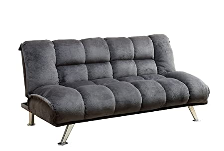 Futon Sofa Bed Sleeper Soft Flannelette Grey (Grey)