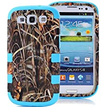 buy Kecko(Tm) Triple Layer Defender Tough Armor Military Pink Tree Camo Grass Mossy Hunting Tree Camouflage Hard Hybrid Impact Case For Samsung Galaxy S3 I9300 Only--Camouflage Tree/Branch/Grass/Leaves On The Core (Grass/Mossy Blue)