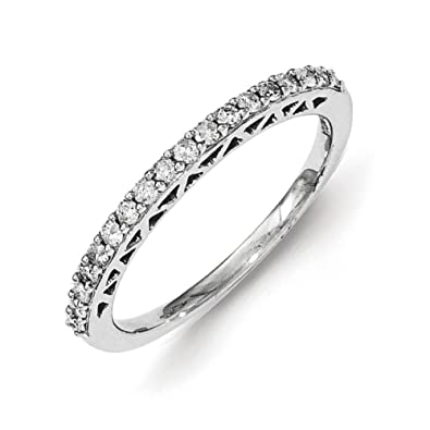 Sterling Silver Polished Diamond Ring - Ring Size Options Range: L to P