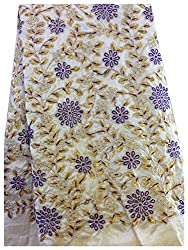 Half mtr golden cream dupion fabric, gold purple floral embroidery, blouse yoke