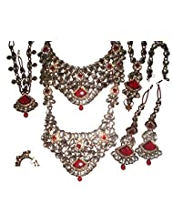 Monalisa Exports Maroon Non-Precious Metal Kundan 8 Pcs Bridal Jewellery Set For Women