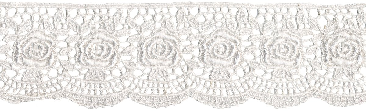 Scalloped Rose Venice Lace 1-3/4 Wide 10 Yards-White nativist notions