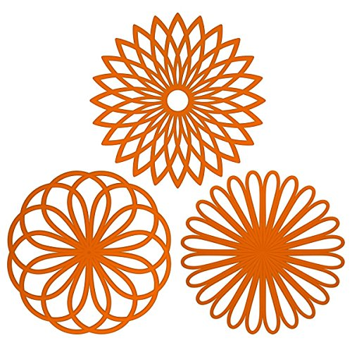 Goxi Silicone Multi-Use Flower Trivet Pot Holder Mat Jar Opener and Garlic Peeler(set of 3 Pack) Premium Quality Insulated Flexible Durable Non Slip Hot Pads and Coasters Cup (Orange)