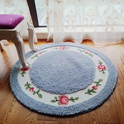 E.a@market European Rural Carpet Sitting Room Bedroom Ground Mat Porch Floor Mats Circular Computer Chair Cushion (Blue)