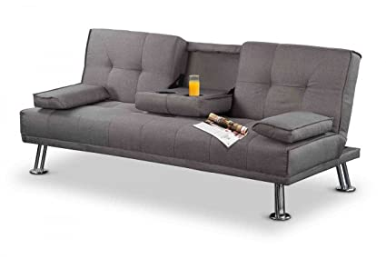 New York gepolsterten Stoff Sofa Bett mit Getränke Tisch–Grau