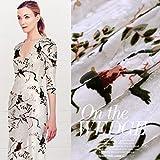 Warbler singing squid low jacquard silk burnt-out velvet fabric silk garment qipao dress scarves mulberry silk fabric.