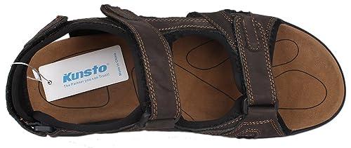 Kunsto Men's Leather Athletic Sport Sandal Flats Shoes 2