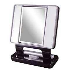 Ottlite Natural Daylight Makeup Mirror 5x/1x Magnification 26w Dual Sided- Black