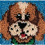 Spinrite Acrylic Blend Wonderart Latch Hook Kit 8 inch x 8 inch Puppy