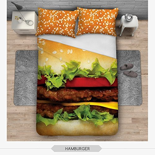 OJIA 3D Prints Beautiful 100% Cotton 3-Piece Hamburger Bedding Sets 1x Duvet Cover and 2x Pillow Covers Twin Size