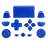 ElementDigital 15Pcs PS4 Replacement Shell Full Buttons, Thumbsticks Thumb Grip + D-pad For Sony Playstation 4 Controller (Blue) (Color: Blue)