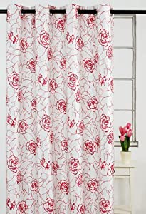 LJ Home Fashions Bloom Window Panels with Red and Coral oversized flowers (Set of 2)