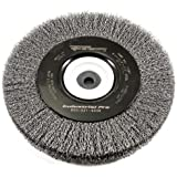Forney 72897 Wire Bench Wheel Brush, Industrial Pro Crimped  with 1/2-Inch Through 2-Inch Multi Arbor, 8-Inch-by-.012-Inch