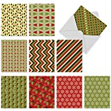 M5009 Mod And Merry: 10 Assorted Christmas Note Cards Modern, Giftwrap-Like Seasonal Designs,w/White Envelopes.