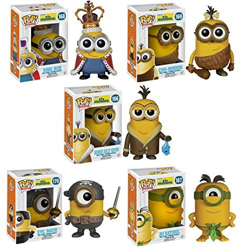 Funko Minions POP! Movie Collectors Set: Minion King, Cro-Minion, Kevin, Eye Matie, Au Naturel Action Figure by FunKo