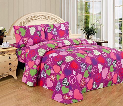 Fancy Collection Pink Purple Zebra Hearts Peace Sign Girls/teens 3 Pc Sheet Set Pillow Shams Bedding Twin Size (Zebra Sheet Set Twin compare prices)