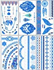 DaLin 6 Sheets Blue Silver and Black Body Temporary Metallic Tattoos Jewelry Inspired Bling Adult Temp Metallic Glitter Art Tattoos Long Lasting, Trendy Tattoo Designs - Necklace, Wrist Bracelet, Elephant, Peacock Feather, Earring, Wings and more- Blue